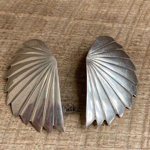 Native American Sterling Silver Fan Earrings